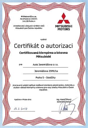 Certifikát autorizované klempírny a lakovny